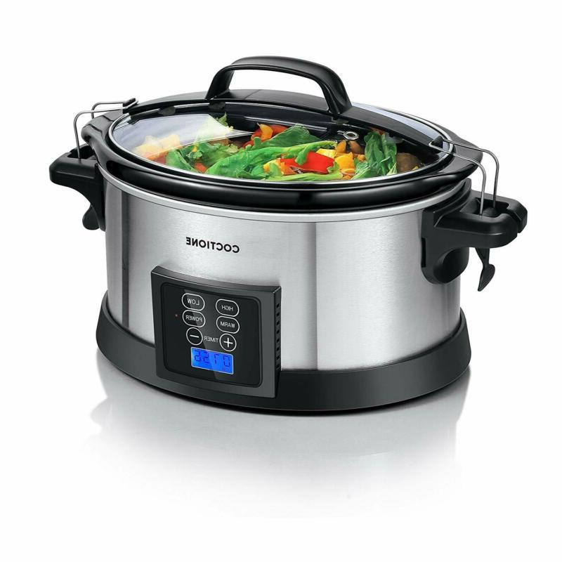 COCTIONE Slow Cooker 6 Quart Oval Shaped Carry Cooker, Elect