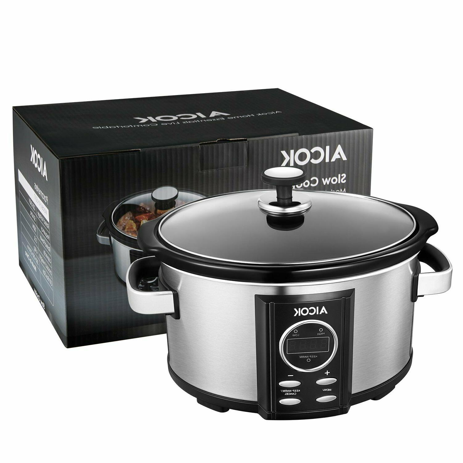 Slow Cooker Aicok 7 Quart Slow Cookers Programmable with 12