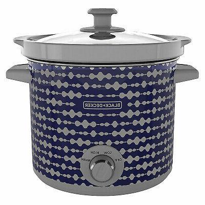 slow cooker blue gray print 4 qt