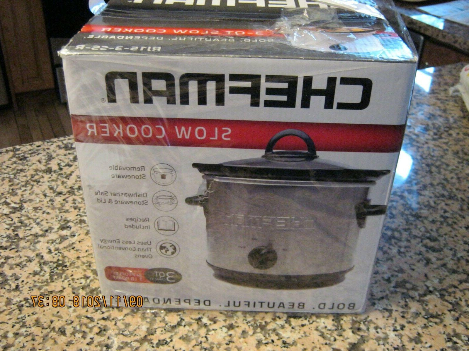 "Chefman Slow Cooker "" New "" In Box Model RJ-15-3-SS-R, 3 Qt."