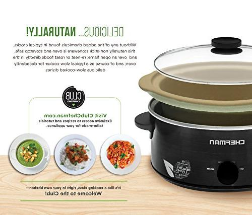 Chefman Slow Cooker, Natural XL 6 Qt. Pot, Glaze-Free, Stovetop, Oven, Dishwasher Only Certified Slow Free Recipes