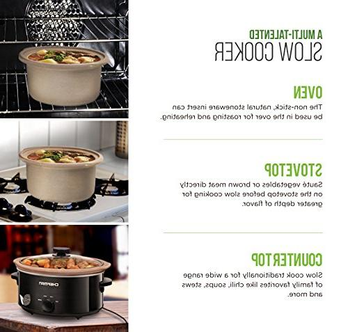 Chefman Slow Cooker, Natural XL Dishwasher Crock; Only Certified Cooker, Recipes