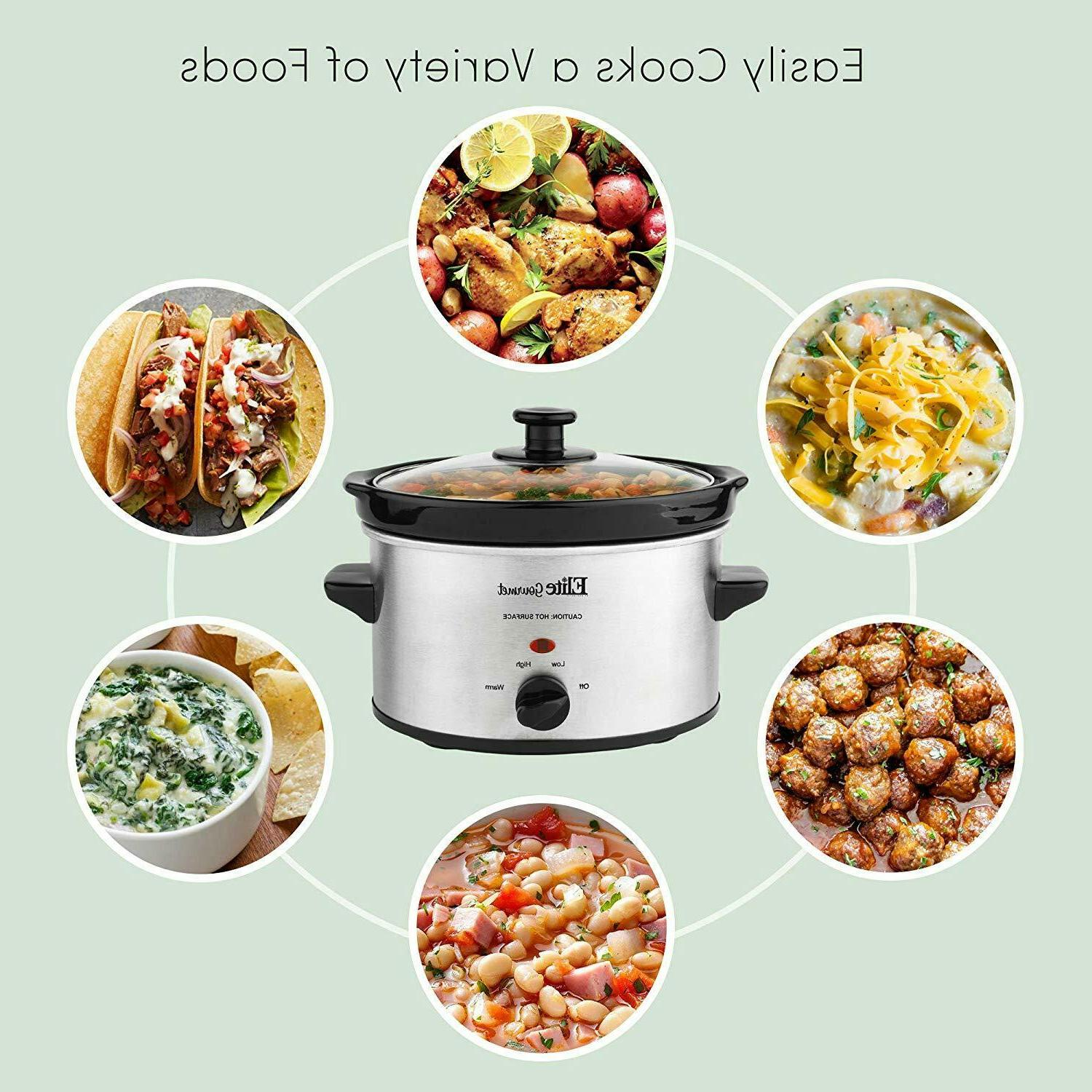 Small Slow Cooker Stainless Steel Crock Kitchen Appliance