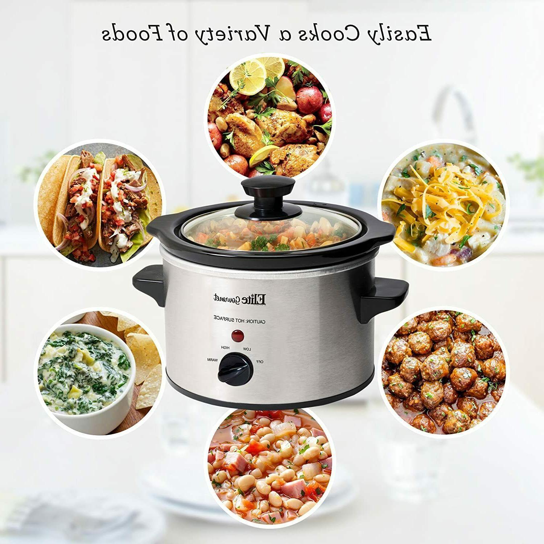 Small Slow Cooker Steel Crock Kitchen Appliance