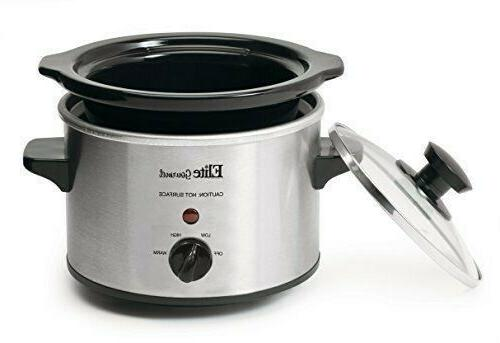 Small Slow Steel Crock Pot Kitchen Portable 1.5