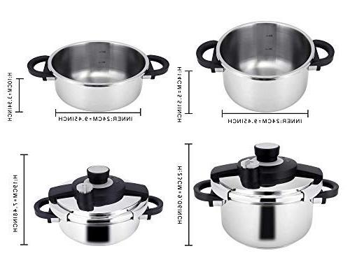 Z&L 4 Steel Cooker One-hand Premium Pressure Cooker Stove Top,Induction Cookware.