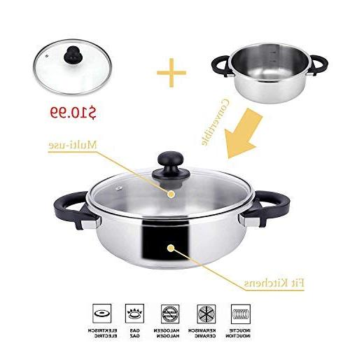 Z&L 4 Quart Steel One-hand System,7psi/12psi Premium Pressure Cooker work with Stove Top,Induction Cookware.