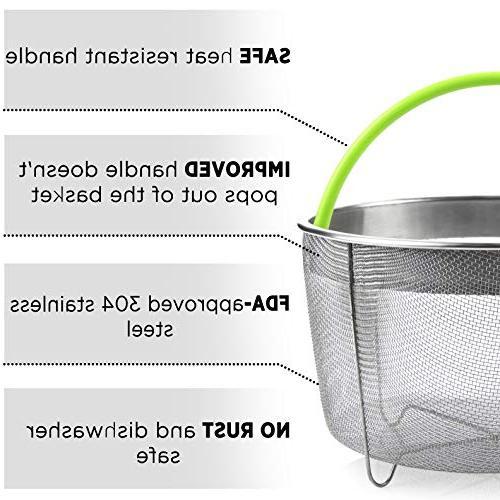 Boodva Pot 6qt Steamer Silicone - Instant Steamer Basket 6qt Pressure Cooker Accessories - Veggie Basket -