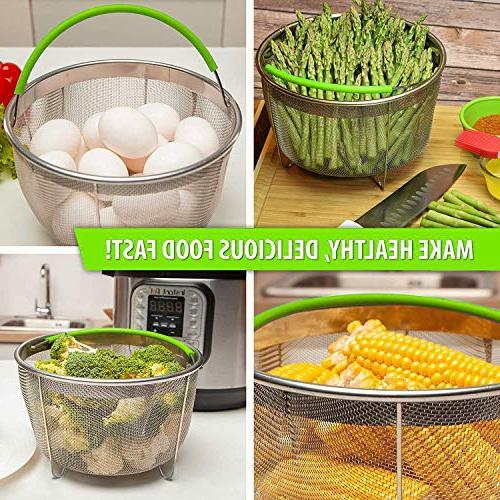 Boodva Instant Pot 6qt Basket Silicone Mat and Tongs - Pot Steamer Basket 6 6qt Pressure Cooker - Veggie Steamer - Vegetable Insert