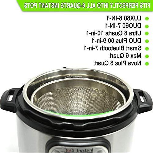 Boodva Pot Accessories 6qt Steamer Basket with Silicone - Instant Pot Basket 6 - 6qt Pressure Cooker - Steamer - Vegetable