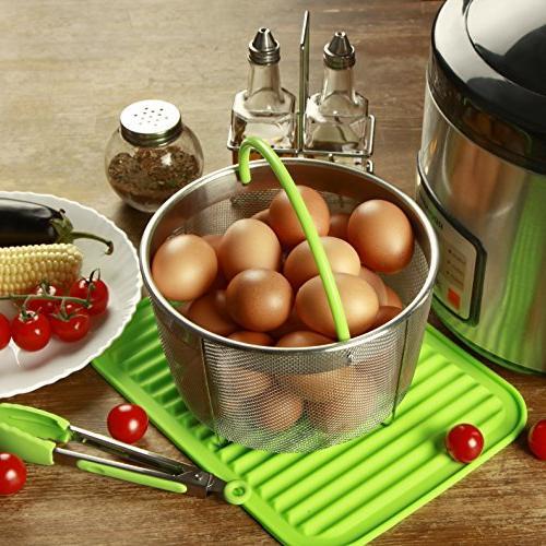 Boodva Instant 6qt Steamer Silicone Mat - Instant Steamer Basket 6 - Veggie Steamer Basket -