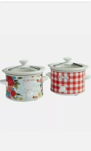 Details about  /The Pioneer Woman Sweet Rose /& Gingham 1.5 Quart Slow Cookers Set Of 2
