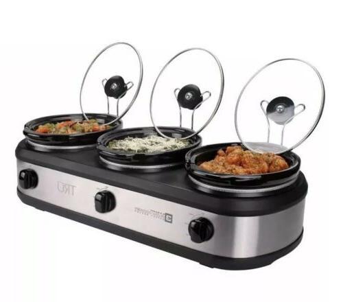 Triple Crock Slow Cooker 2.5 Buffet Warmer Server Lids