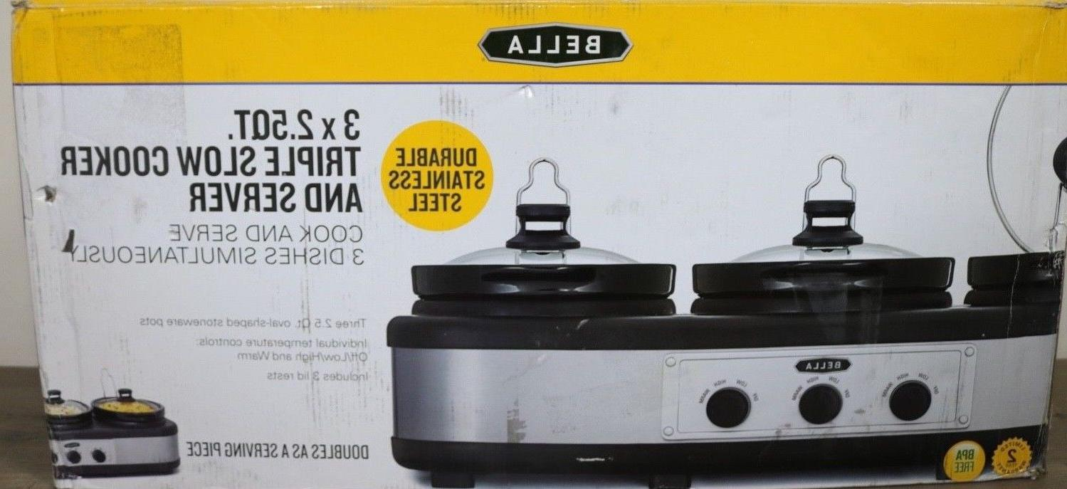BELLA Slow Cooker and x1.5 QT Steel