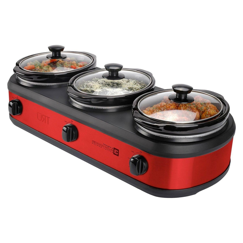 Red TRU Buffet Slow Cooker 3-Crock Set
