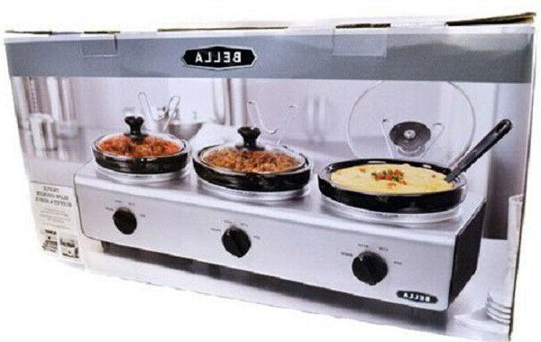 triple slow cooker buffet server