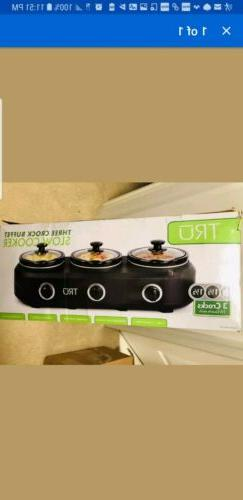 triple slow cooker crock pot 3x 1