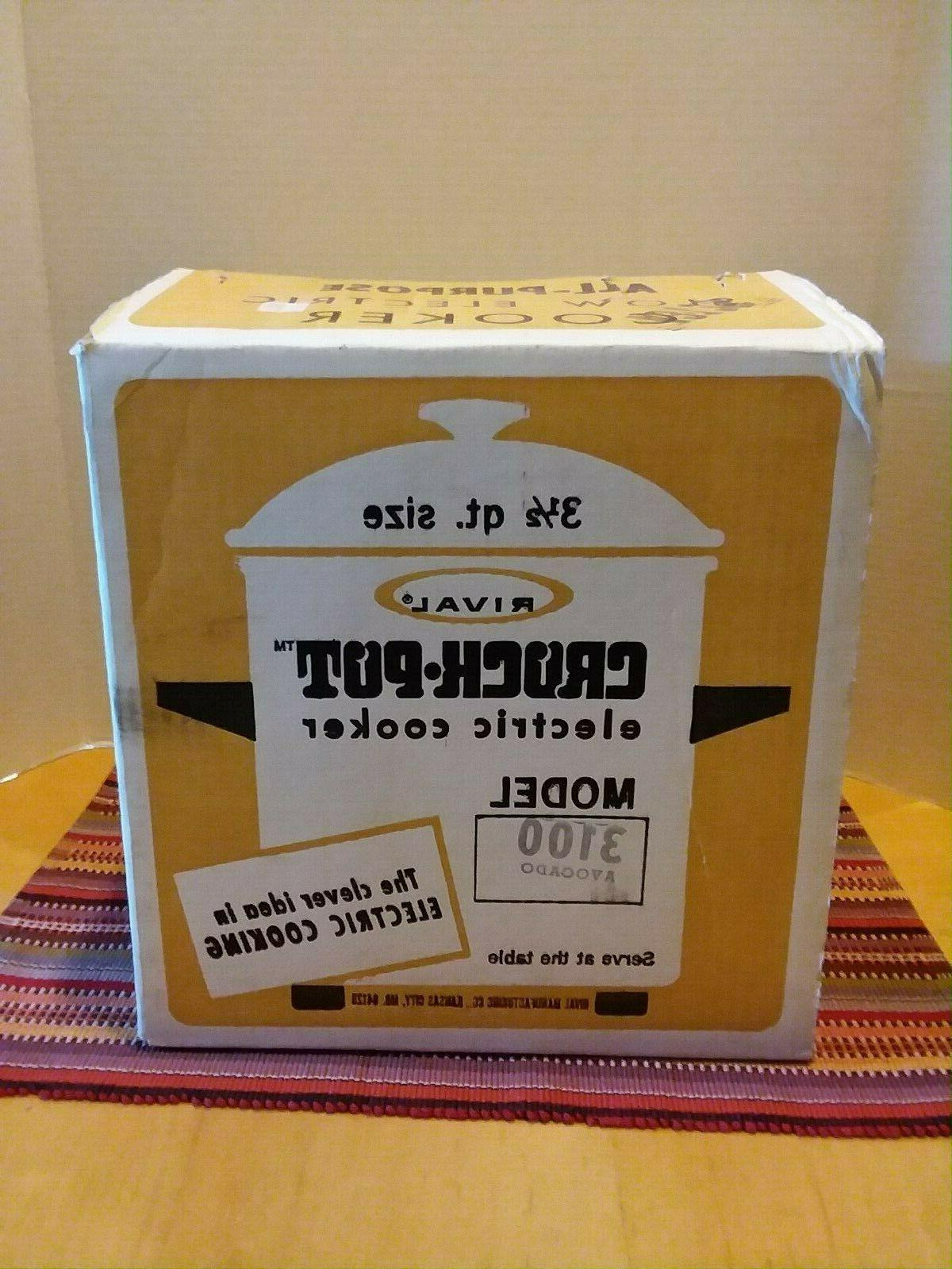Vintage 1970s Rival Crock Pot Slow Cooker # 3100 new in open