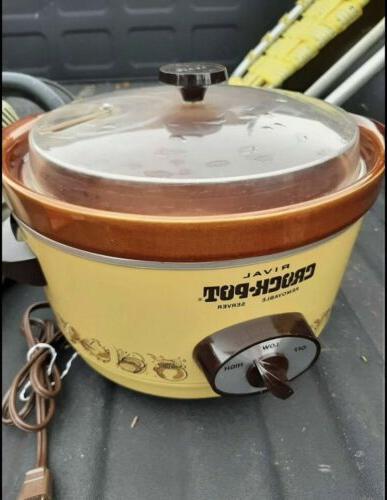 vintage 4 qt crockpot slow cooker