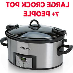 Large Crock Pot Programmable Slow Cooker Oval Stainless Stee
