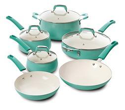 Leucadia 10pc Non-Stick Cookware Set, Turquoise