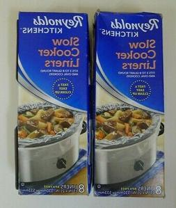 """Lot 2 Boxes Reynolds Slow Cooker Liners Bags 13""""x21"""" 8 Each"""
