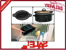 Manual Slow Cooker 4 Quart Black Clear Lid High-Low Settings