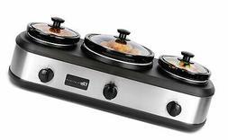 Maxi-Matic EWMST-415 Triple Slow Cooker, 7 QT, Black