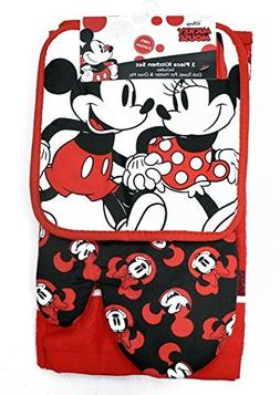 Mickey & Minnie Mouse 3pc Kitchen Set Oven Mitt Pot Holder D
