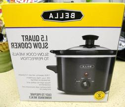NEW BELLA 1.5 Qt Quart Slow Cooker with Tempered Glass Lid