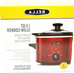 BELLA 1.5 Qt Red Quart Slow Cooker Crock w/Tempered Glass Li