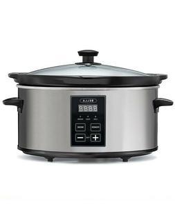 New Bella 5-Qt Programmable Slow Cooker Stoneware Pot Dishwa