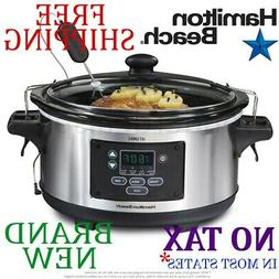 New HAMILTON BEACH 6qt Quart Programmable SLOW COOKER w THER