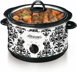 NEW Crock Pot 4.5 Quart Manual Slow Cooker Damask Pattern