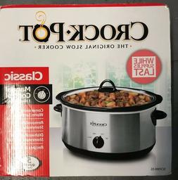 NEW - Crock-Pot Stainless 5-Quart Manual Slow Cooker Oval Cl