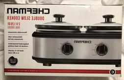 "CHEFMAN ""NEW"" DOUBLE SLOW COOKER  2 Removable 1.25 Qt Oval"