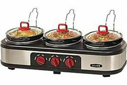 NEW, No Box-Bella Triple Slow Cooker/ Buffet Server 3 x 1.5