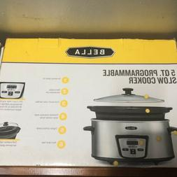 New Bella Programmable 5 Quart Slow Cooker Stainless