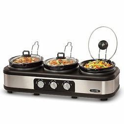 NEW Triple Buffet Slow Cooker Crockpot Cooking Food Warmer P