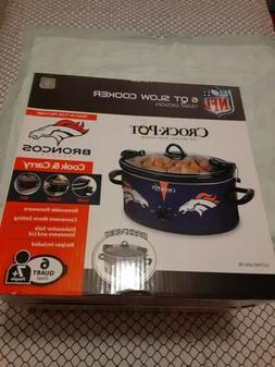 NIB NEW Crock Pot NFL Denver Broncos 6 quart Cook&Carry Slow