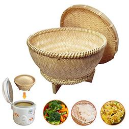 7 Inch Oriental Style Bamboo Food Steamer Handcrafted Asian