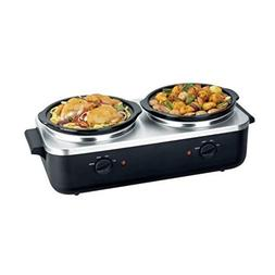 NutriChef PKBFWM26 Dual Pot Electric Slow Cooker Food Warmer