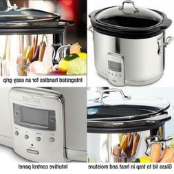 Programmable Oval-Shaped Slow Cooker w/Black Insert Glass Li