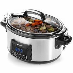 Programmable Slow Cooker 6QT Oval Food Warmer 3 Mode w/ Lock