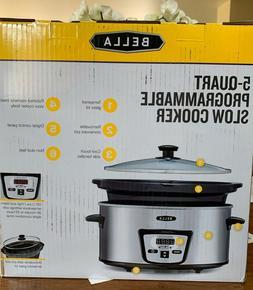 Bella Programmable Slow Cooker Crock Pot Oval 5 Quart Large