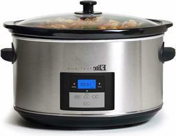 Programmable Slow Cooker Extra Large 8.5 Quart Crock Pot Sto