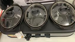 Sensio 14582 3 x 1.5 quart Triple Slow Cooker, Black