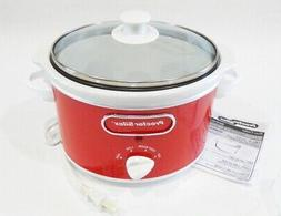 PROCTOR SILEX RED & WHITE 1.5 Qt. SLOW COOKER Removeable Pot