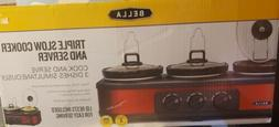 Bella Red Triple Slow Cooker And Server 1.5qt