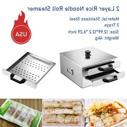 Removable 2 Layer Rice Noodle Roll Steamer, Rice roll maker